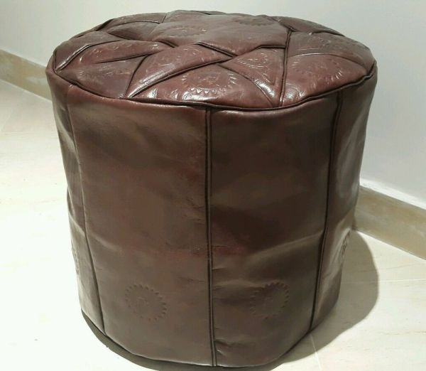 High Handmade Moroccan Pouf Genuine Leather Pouffe