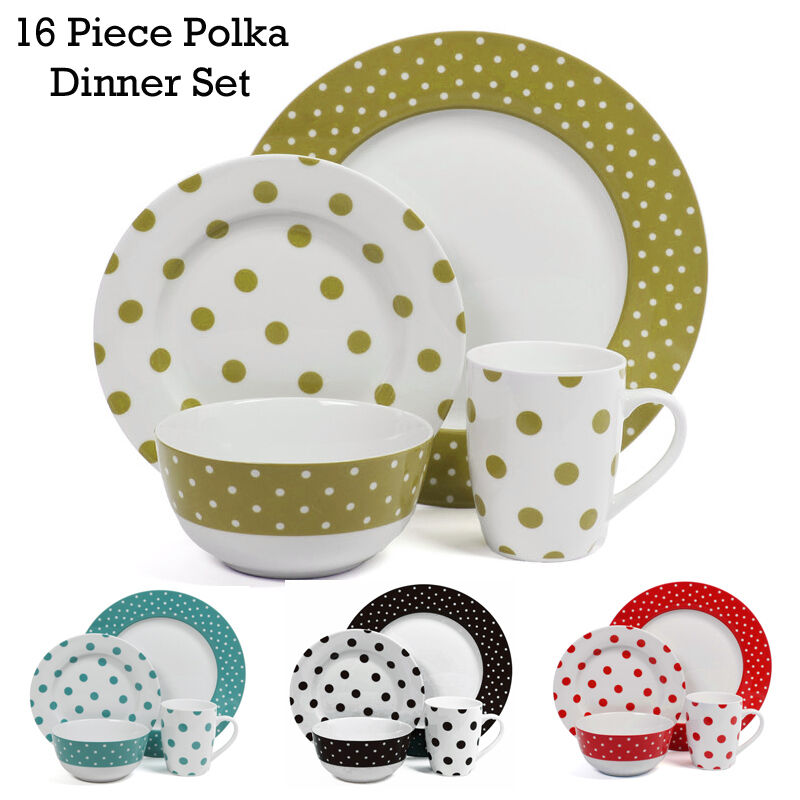 16PCS Ceramic Porcelain Polka Dot Dinner Set Plates Cups