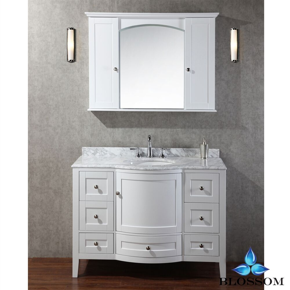 BLOSSOM 48 ROME SINGLE SINK BATHROOM VANITY WITH MARBLE TOP WHITE COLOR  eBay