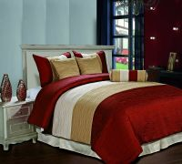 Amber QUEEN Size Bed 7pc Jacquard Stripes Comforter Set ...