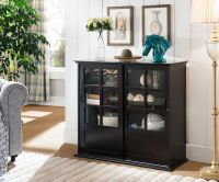 Kings Brand Furniture Espresso Wood Curio Cabinet with
