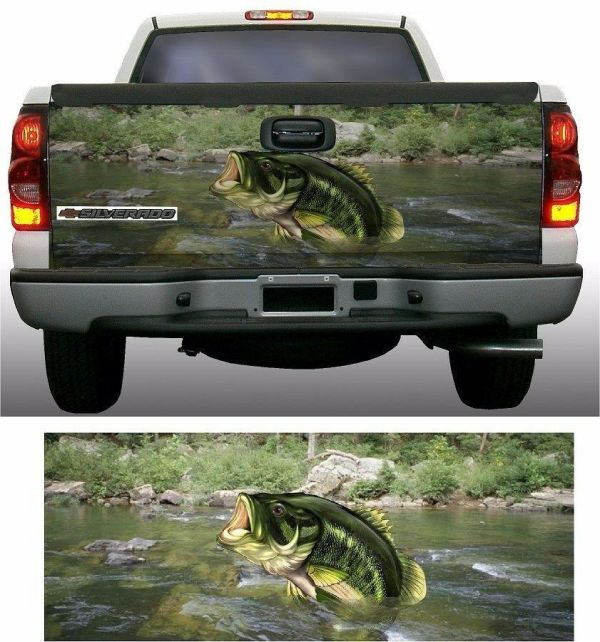 Large Mouth Bass Fish Fishing Truck Tailgate Vinyl Graphic
