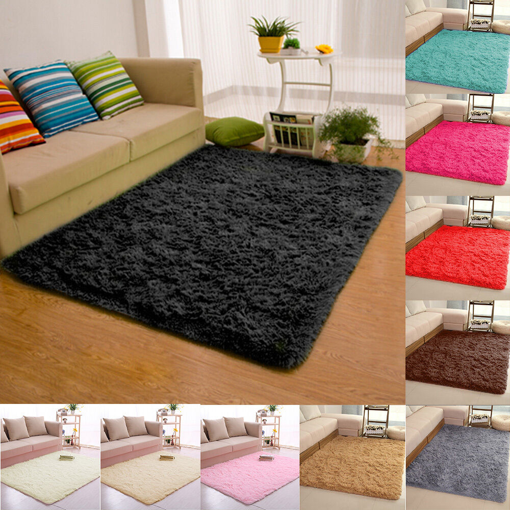 Fluffy Rugs AntiSkid Shaggy Area Rug Dining Room Carpet Floor Mat Home Bedroom  eBay