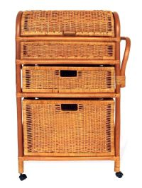 Basil Handmade Rattan Wicker Drawer Chest Laundry Basket