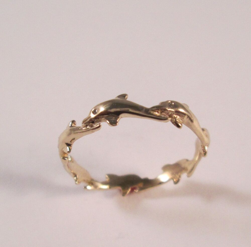 14 KT SOLID YELLOW GOLD DOLPHIN RING WITH DIAMOND EYES
