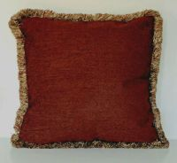 large solid rust chenille fringe decorative throw pillow