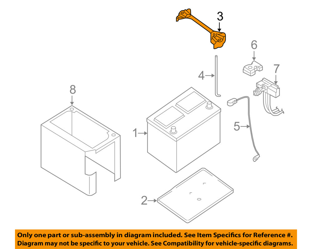 medium resolution of details about nissan oem 05 11 frontier 4 0l v6 battery hold down tie bracket clamp 24427zn50a