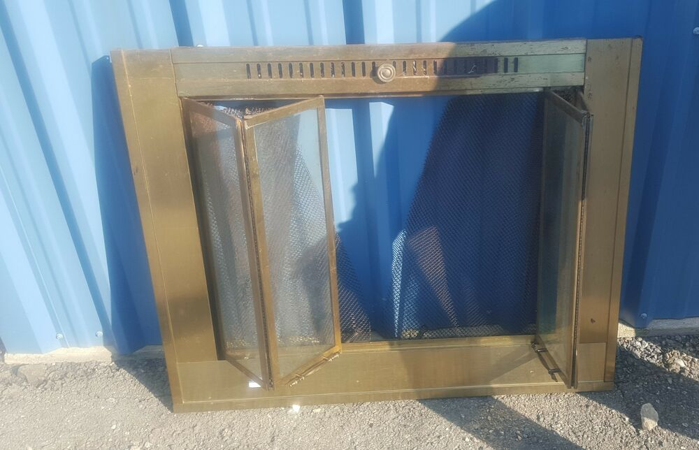 Tempered Glass Fireplace Vtg Brass Fireplace Screen Glass Accordion/bifold Door | Ebay