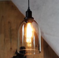 Vintage Industrial Bell Glass Shade Pendant Lamp Fixture ...