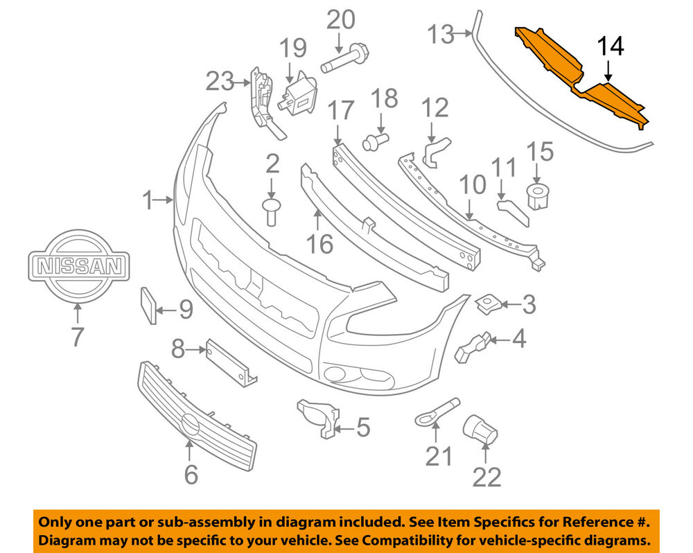 hight resolution of nissan oem 09 14 maxima front bumper grille closure panel 620789n00a 1989 nissan maxima engine diagram only