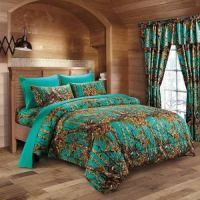 WOODLAND TEAL TWIN SIZE 4PC WOODS CAMO COMFORTER SHEET SET ...