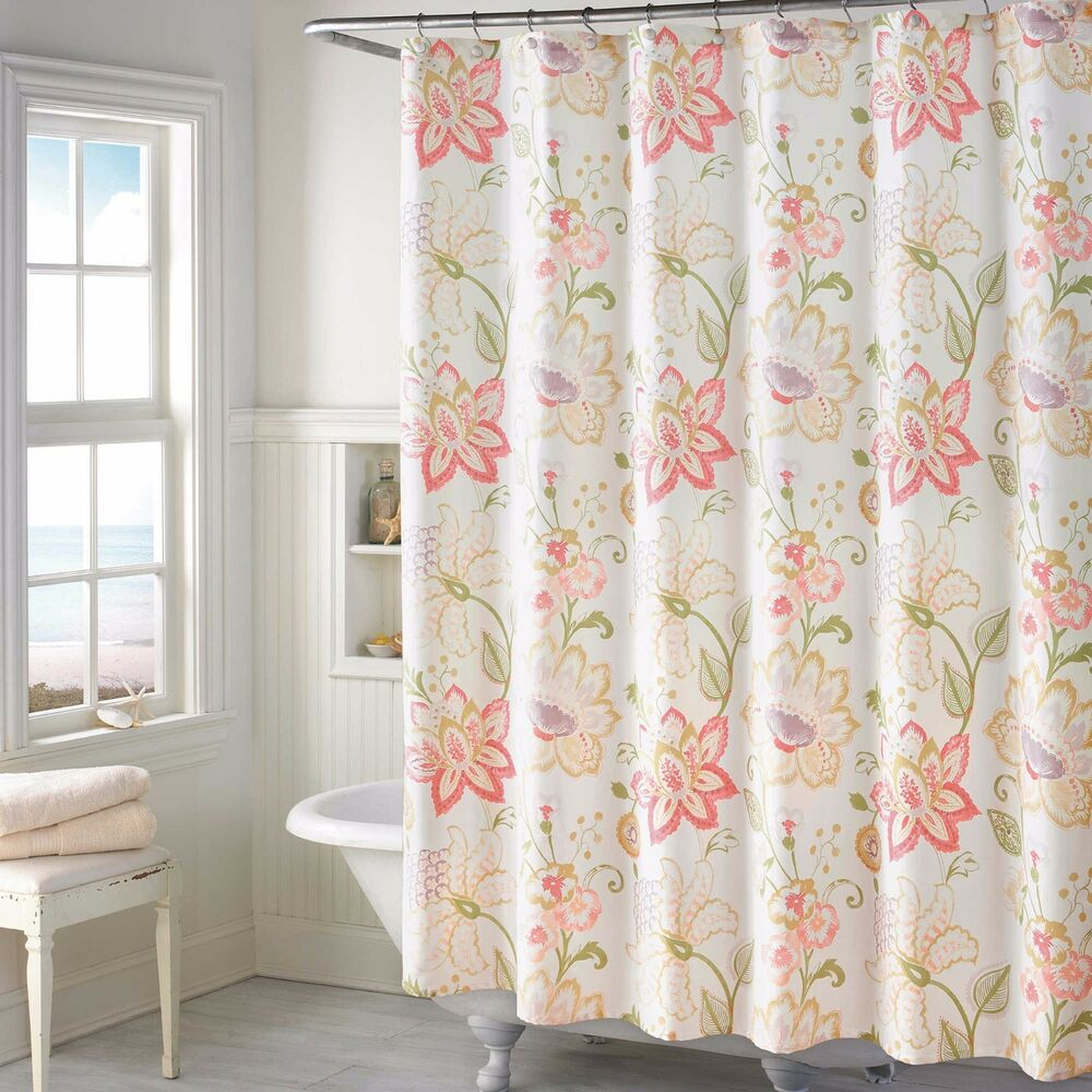 Soft Spring Floral Fabric Shower Curtain French Country Pink Purple Green Yellow  eBay