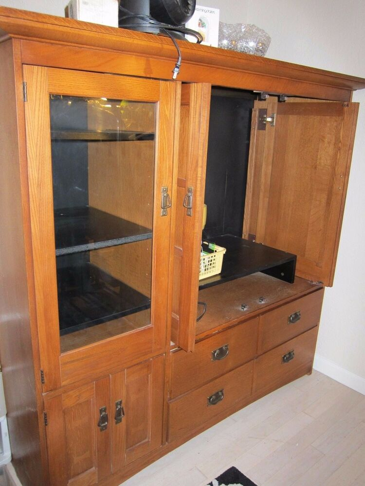 Hardwood Wood TV Console Stand Armoire Cabinet