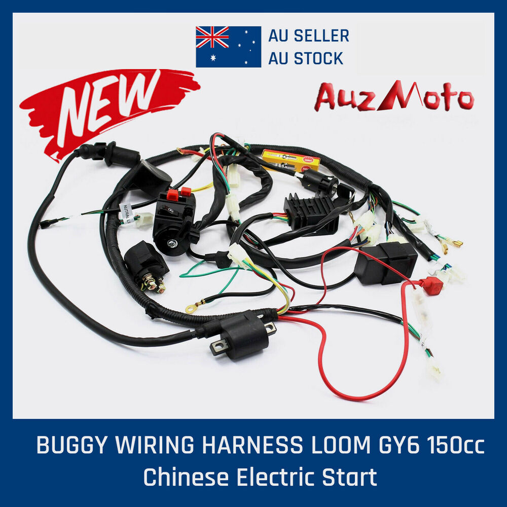 hight resolution of buggy wiring harness loom gy6 150cc chinese electric start kandi go kart dazon ebay