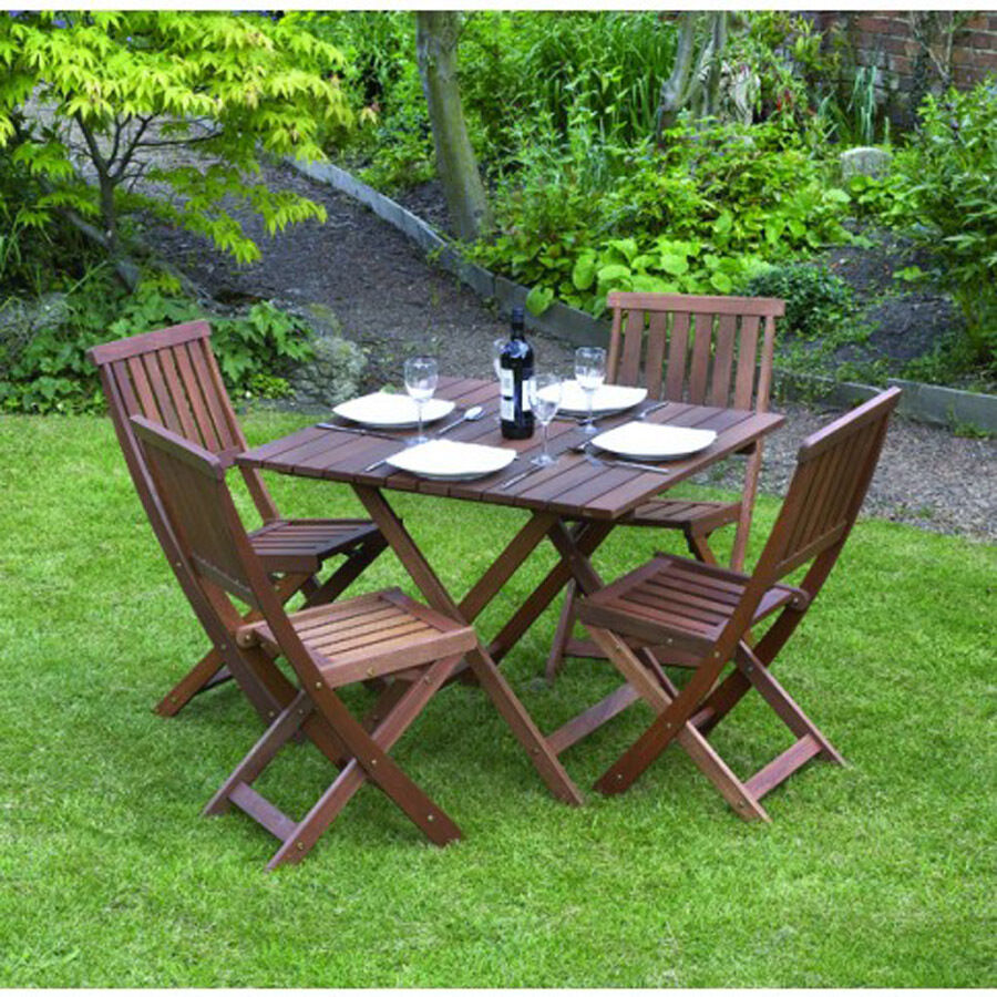 Garden Patio Furniture Set Table & Chairs 5 Piece Folding