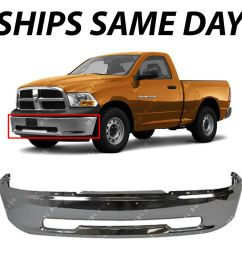 details about new chrome steel front bumper for 2009 2010 2011 2012 dodge ram 1500 pickup [ 1000 x 1000 Pixel ]