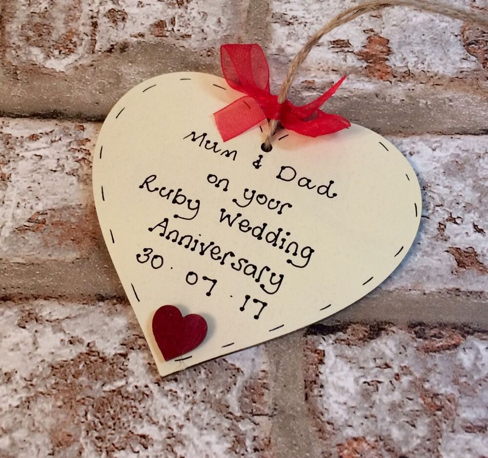 ruby40th wedding anniversary Personalised gift wooden heart  eBay