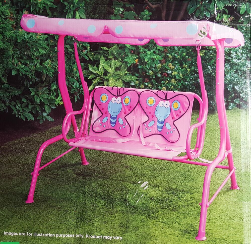 Garden Outdoor Patio Metal Swing Chair Kids Butterfly 2