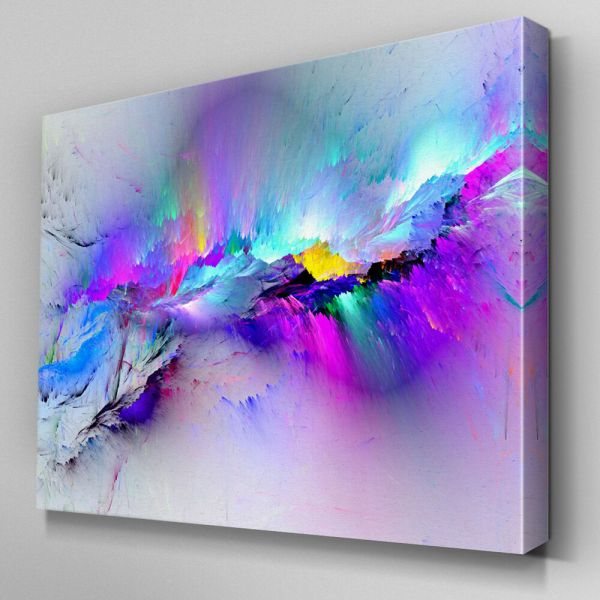 Ab968 Modern Multicoloured Blue Canvas Wall Art Abstract