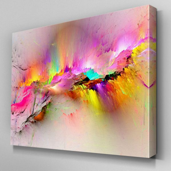 Ab970 Modern Pink Yellow Large Canvas Wall Art Abstract