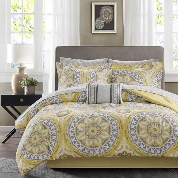 Beautiful Modern Tropical Exotic Bed In Bag Yellow Grey Comforter Set Sheets