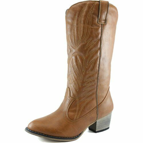 Womens Tan KneeHigh Cowboy Boots Cowgirl Western Embroidered Cheap New Vegan  eBay