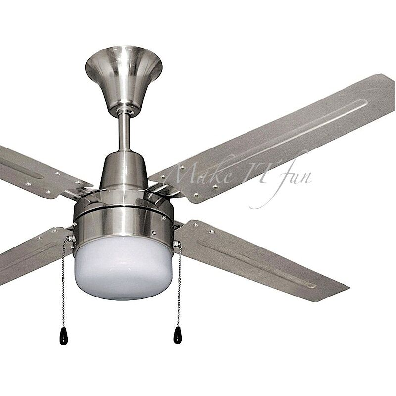Small Ceiling Fan with Light Kit Modern Brushed Chrome 4 Blades 60W Electric 48  eBay