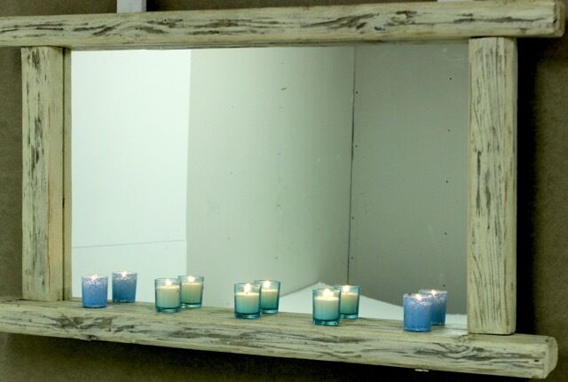 Large Rustic WHITE WASHED Distressed Driftwood Wood mirror