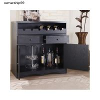 Black Home Bar Pub Furniture Dining Buffet Unit Wine Rack ...