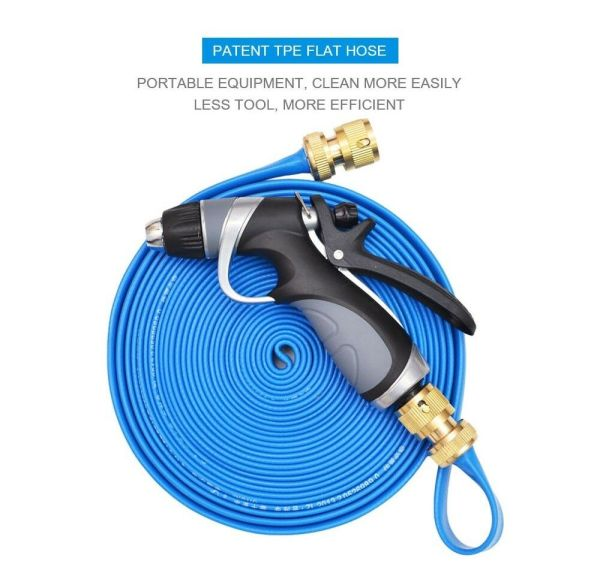 50ft Lay-flat Garden Water Soaker Hose Pipe With High Blue Pressure Nozzle Sprayer 609015770818