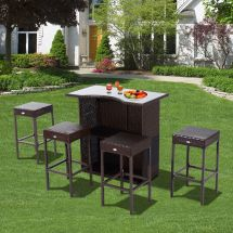 Outsunny Rattan Bar Set 5pc Dining Table Barstool Outdoor