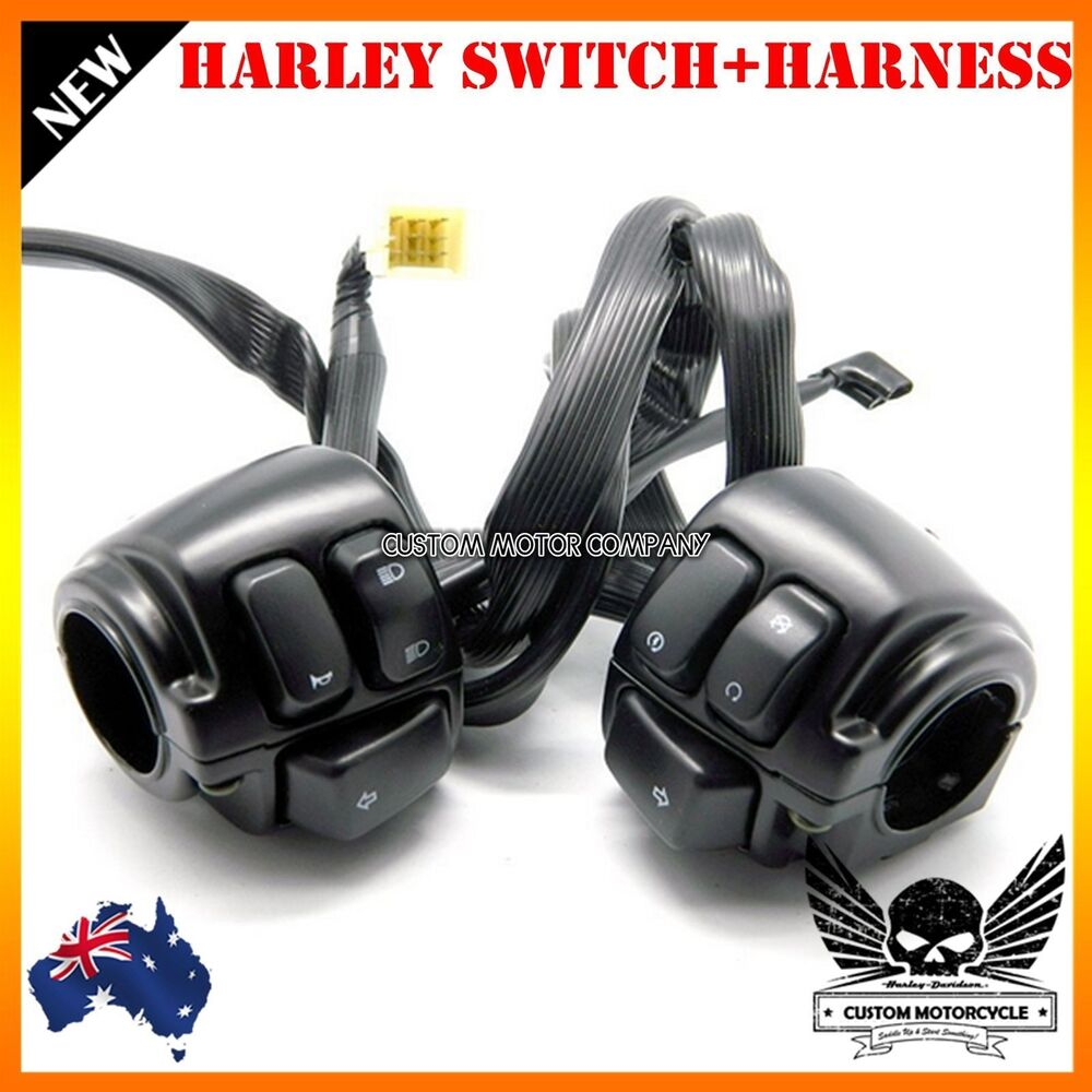 medium resolution of details about black motorcycle 1 handlebar control switches wiring harness harley dyna vrod