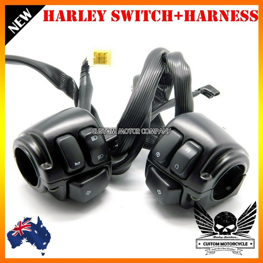 hight resolution of details about black motorcycle 1 handlebar control switches wiring harness harley dyna vrod