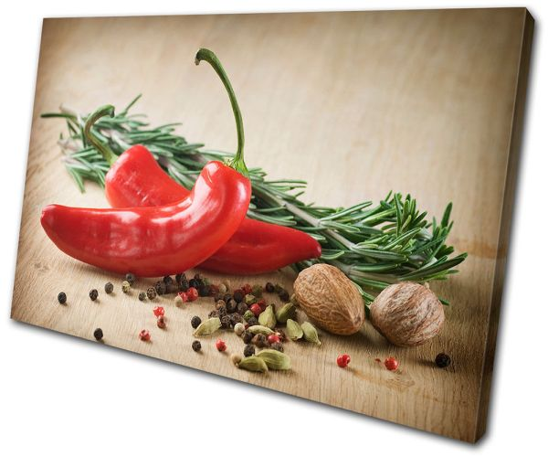 Canvas Art Print Chili Pepper Kitchen Spice Organic Cooking Indian Restaurant