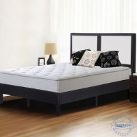 Sleeplace Faux Leather Padded Headboard Wood Slat Platform ...