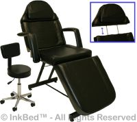 InkBed Tattoo Black Stationary Massage Table Bed Chair Ink
