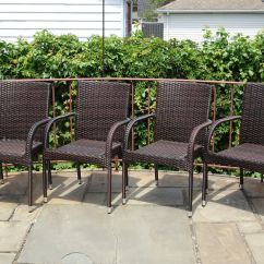 Stackable Deck Chairs Clear Seat Covers For Dining Set Of 4 Patio Resin Outdoor Garden Wicker Arm Chairs. Dark Brown | Ebay
