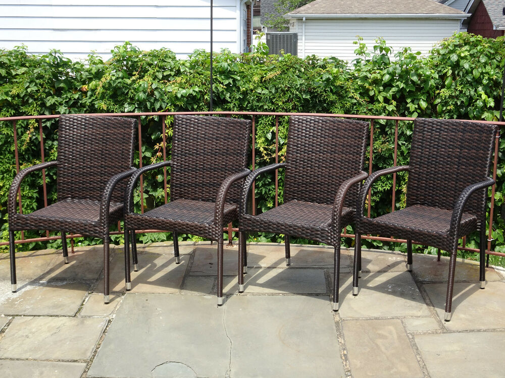 Set Of 4 Patio Resin Outdoor Garden Deck Wicker Dining Arm - Christopher Knight Patio Furniture