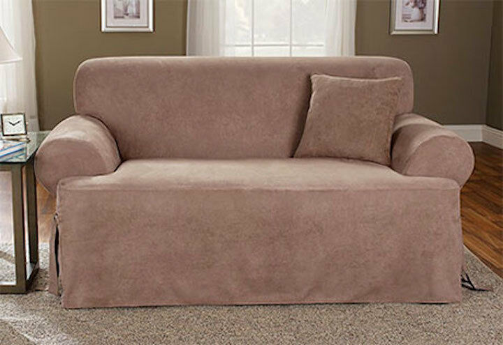 fitted chair covers ebay black papasan frame sure fit sofa slipcover soft suede t-style cushion tan/taupe |