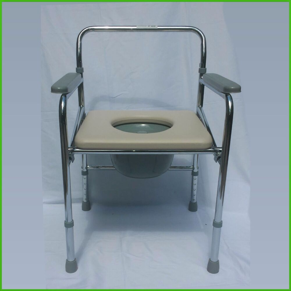 heavy duty commode chair wedding covers hire newcastle folding steel bedside toilet seat, 300 pounds capacity 617135559800 | ebay