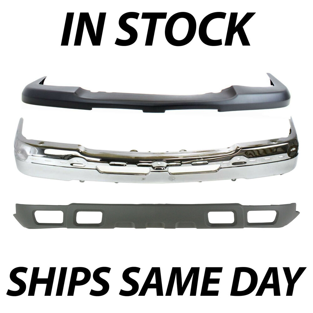 car window parts diagram 1965 mustang fastback wiring new complete steel front bumper kit for 2003-2007 chevy silverado 1500 avalanche | ebay