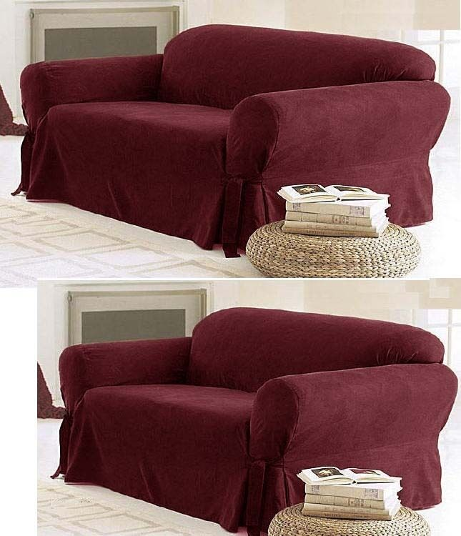 stretch chair covers swivel and a half solid suede couch 3 piece burgundy slipcover set = sofa loveseat | ebay