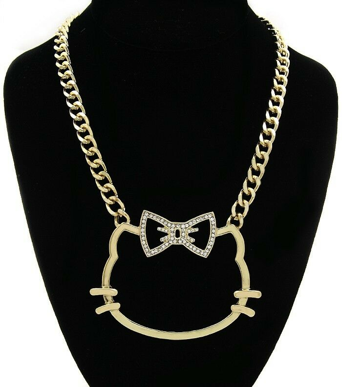 Bling Hello Kitty Statement Link Chain Choker Necklace