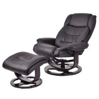 New Executive Leisure Recliner PU Leather Chair w/ Ottoman ...