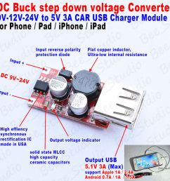 dc9 24v 3a car usb charger module dc buck step down voltage converter for phone ebay [ 999 x 1000 Pixel ]
