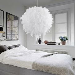 Living Room Ceiling Lights Modern Artificial Trees For Contemporary White Feather Elegant Light Pendant ...