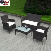 Patio Rattan Wicker Cushioned Sofa Chair Table Outdoor