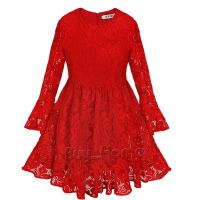 Kids Flower Girl Casual Red Dress Long Sleeve Lace Party ...