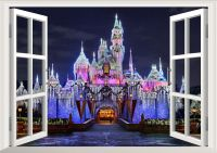 Disney Land Princess Castle Night 3D Window Wall Decal ...