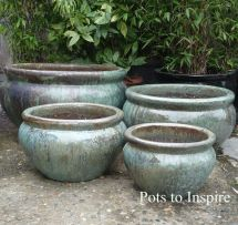 Extra Large Opal Green Glazed Bowl Planters Garden Pot